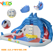YARD backyard shark inflatable water slide swimming pool water park with blower(China (Mainland))