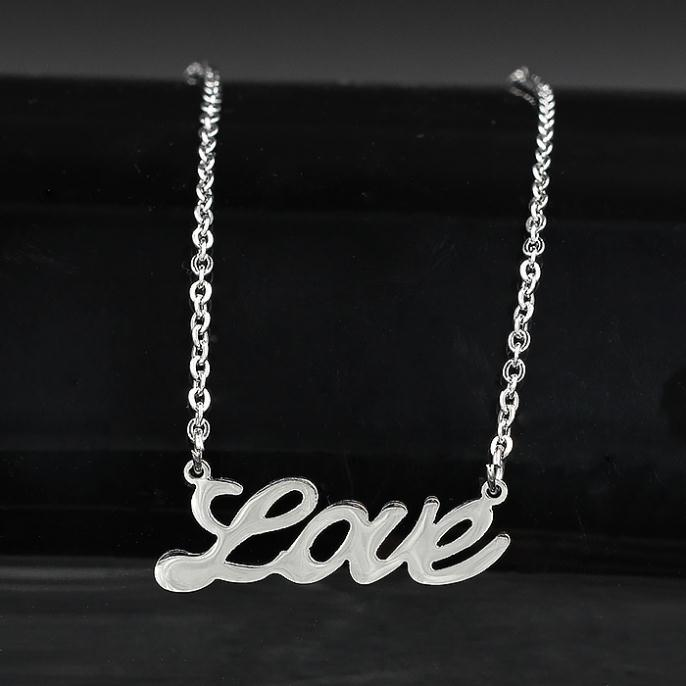 Love Word Pendants Necklaces,High Quality Stainless steel color necklaces,2015 Classic Style(China (Mainland))