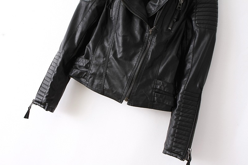 Новая мода осень-зима женщин бренда мягкой искусственной кожи куртки pu черный блейзер молнии длинный рукав мотоцикл пальто lj864