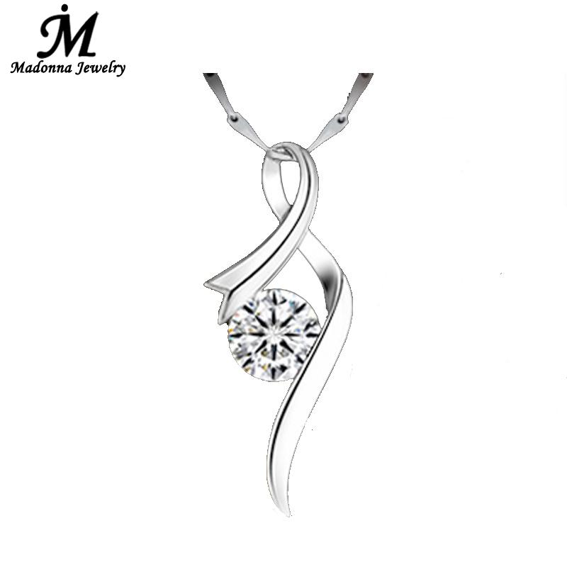 Fashion Luxury Purple White Crystal Women Necklace Pendants Silver Plated Jewelry Music Drop Water Design For Wholesale(China (Mainland))