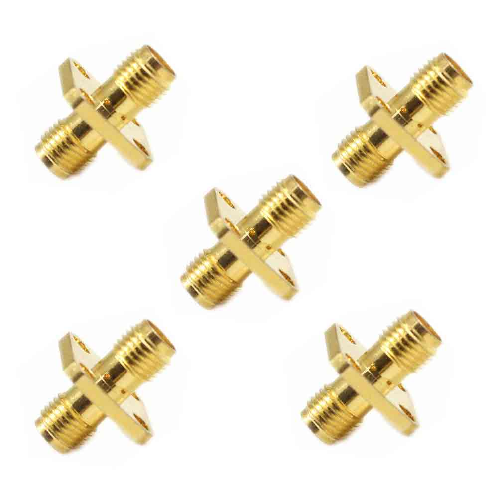 5pcs SMA female to SMA female 4 holes flange mount RF adapter connector<br><br>Aliexpress