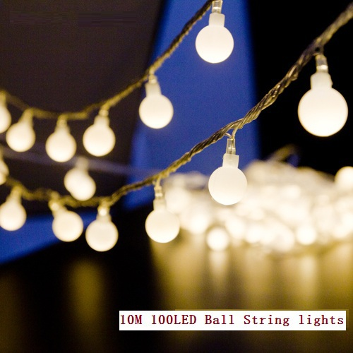 10M led string lights 100led ball AC220V 110V holiday wedding patio decoration lamp Festival Christmas lights outdoor lighting(China (Mainland))
