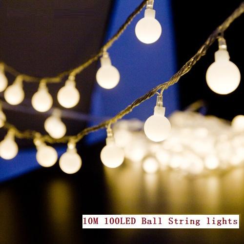 10M led string lights 100led ball AC220V 110V holiday wedding patio decoration lamp Festival Christmas lights
