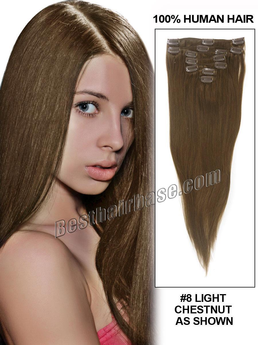 Great Quality 24 inch Silky Straight Clip in Hair Extension 100g/set in Color #8 Ash Brown, 7pcs/set Remy Cambodian Hair Made(China (Mainland))