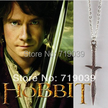 20pcs/lot Wholesale Lord of the Rin gs The Hobbit necklace Bilbo Baggins Sting Sword pendant necklace,original factory supply(China (Mainland))