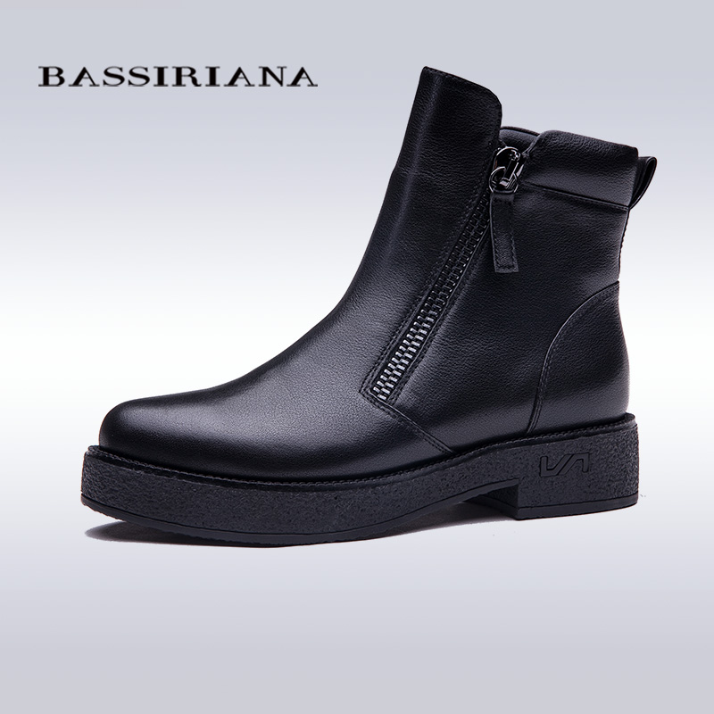 BASSIRIANA 2017 Winter Shoes Woman Genuine Leather Snow Boots New Fashion Casual Flat Ankle Boots Women Warm Shoes Women Boots(China (Mainland))
