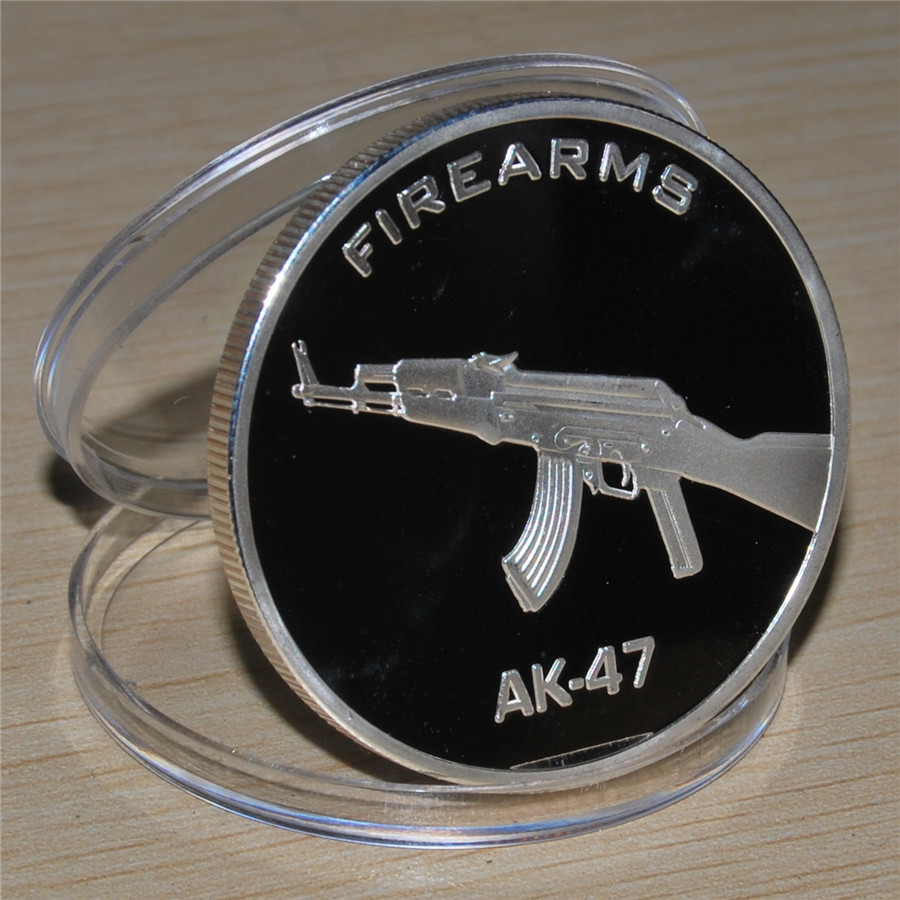 AK-47 Gun Firearms JFK Kennedy Half Dollar US Colorized Coin Russian military challenge COINS 5pcs/lot free shipping(China (Mainland))