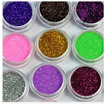 2015 FashionChristmas 9 Colors Metal Shiny Glitter Nail Art Tool Kit Acrylic UV Powder Dust Gem Decoration(China (Mainland))