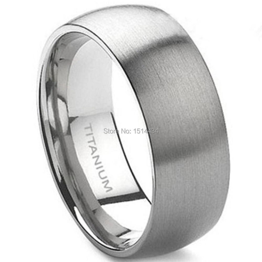 8MM Men Size 7-15 Classic Simple Plain Brushed Pure Solid Titanium Wedding Engagement Band Ring Husband Father's Day Gift(China (Mainland))