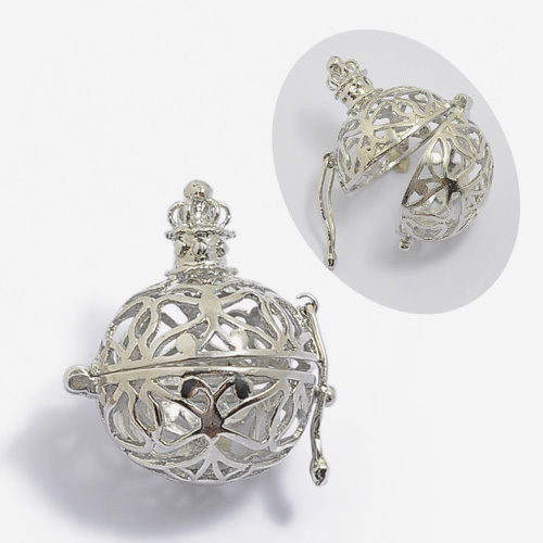 5pcs Wholesale 30mm*27mm Hollow Cage Filigree Ball Box Copper Locket Pendants For DIY Jewellry Findings(China (Mainland))