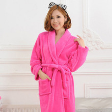 Bath Robe 13 colors Winter Women's Plus Size Flannel Robes Bathroom Robe Men Bathrobe Pajama Thick Long Spa Robe Shower Homewear(China (Mainland))