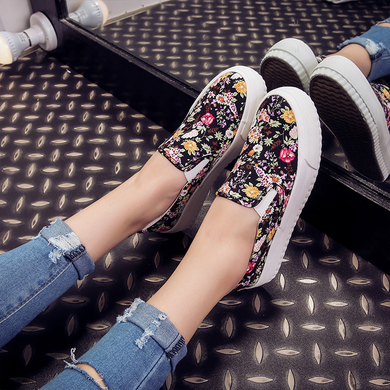 2016 Women Flat Canvas Casual Shoes Breathable Slip On Women Spring Shoes Outdoor Populay Trend Brand Female Shoes SJ08