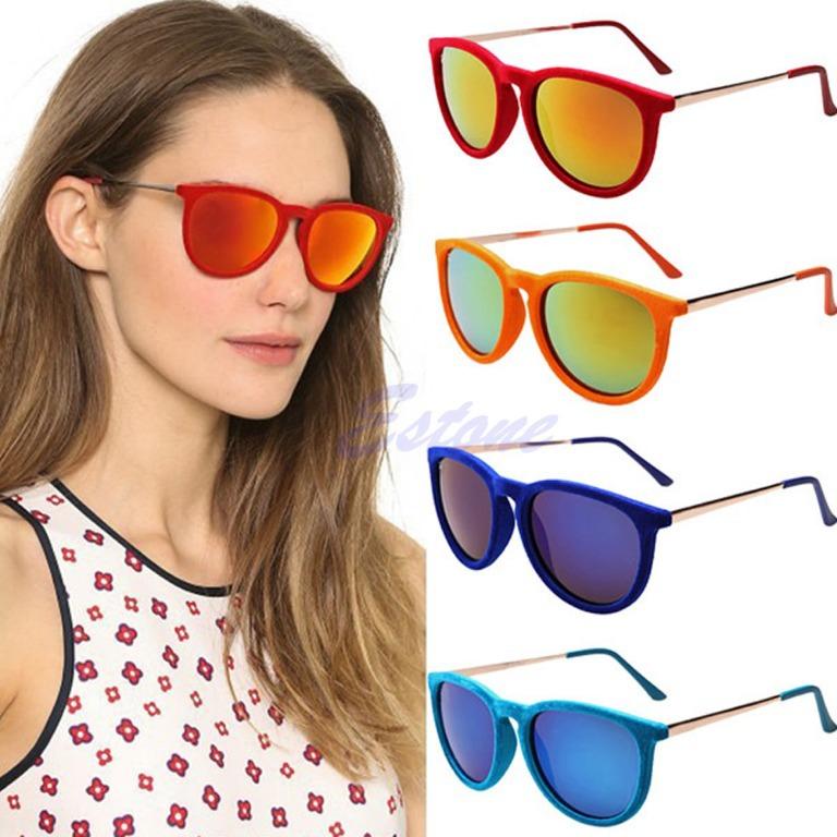 A96 Free Shipping Hot Women Unisex Velvet Frame Sunglasses Stylish Designer Shades Glasses Eyewear(China (Mainland))