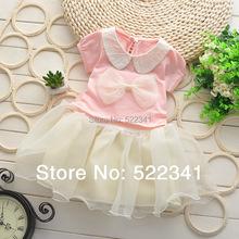 Baby girls summer dress new style fashion cute kids children doll collar bow  beautiful  veil dresses(China (Mainland))