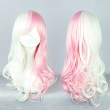 Cosplay Costume Wigs 55cm long pink and white Monomi Dangan Ronpa Anime Show Party cosplay wig(China (Mainland))