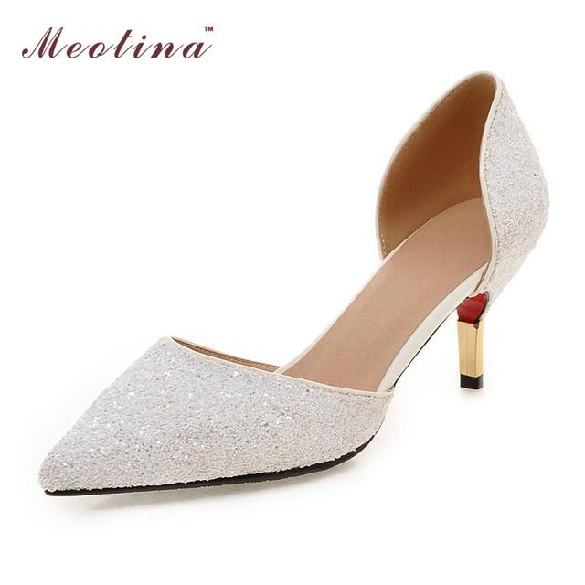 Женская обувь указал на высоких каблуках дамы белый свадебные туфли из двух частей ...
