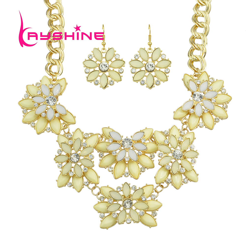 Kayshine Luxury Jewelry Sets Red Black Beige Acrylic With Rhinestone Big  Flower Choker Necklace And Drop Earrings For Women