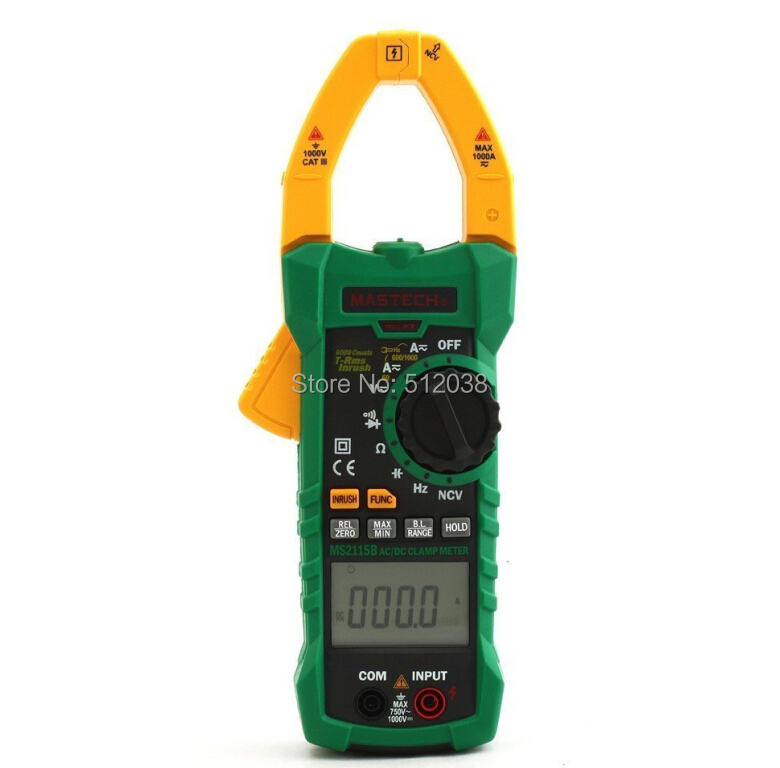 MS2115B True RMS Digital Clamp Meter Multimeter DC AC Voltage Current Ohm Capacitance Frequency Tester with USB(China (Mainland))