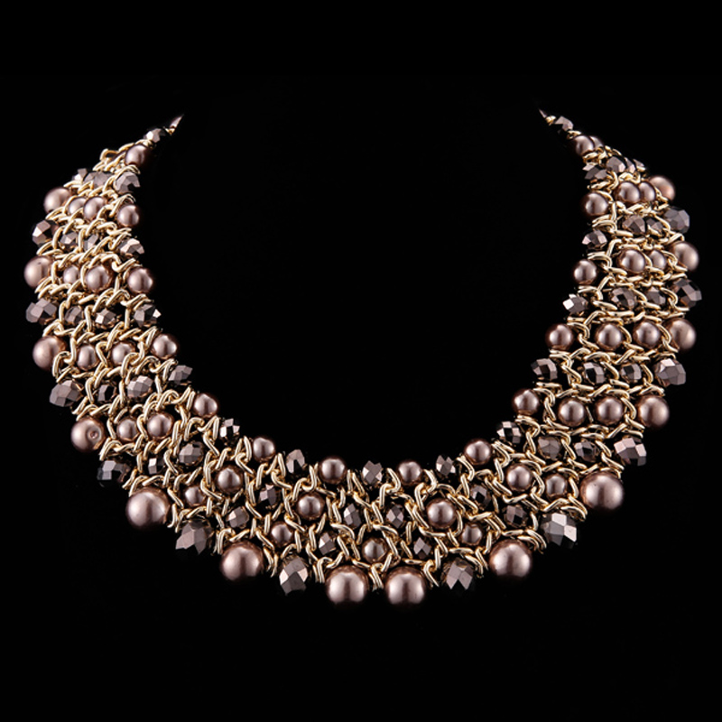 Kaymen Gold Plated Chains Imitation Pearls Crystal Weaving Choker Necklaces Women Fashion Maxi Jewelry 2 Color - KAYMEN JEWELRY CO,.LED. store
