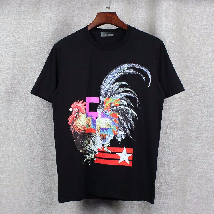 Summer new mens striped cock stars cartoon printing t shirts men women o neck cotton tops tees short sleeve black t shirts us682
