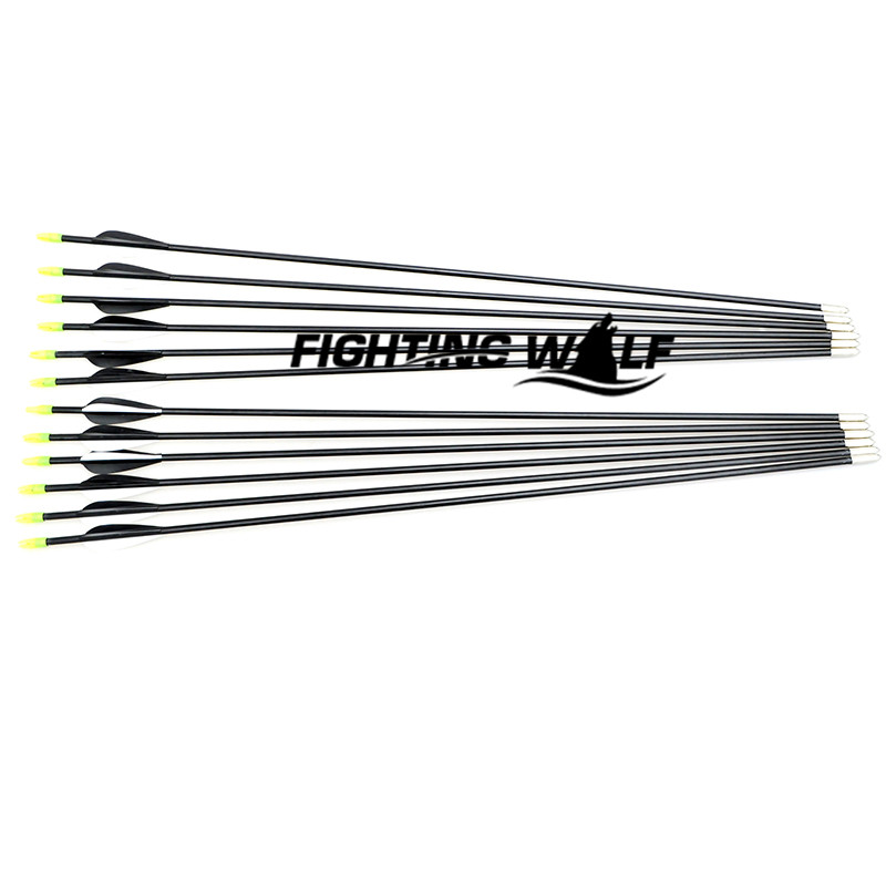 2 White 1 Black Feather Fiberglass Composite Bow Hunting Arrow Free Shipping 12PCS