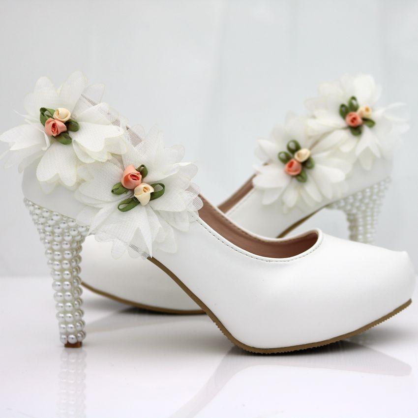 women dress Shoes fashion white pearl flowers high heels shoes bridal wedding shoes Women pumps 14cm shoes women