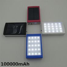 free shipping New Creative solar power bank + LED camping lantern lighting 100000mah power bank High power LED lights function(China (Mainland))