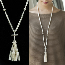 Classic Natural Pearl Cross Pendant Necklace Autumn&Winter Season Sweater Chain Necklace Coat Long Tassel Necklace Women Gifts(China (Mainland))