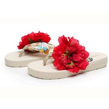 2016 Hot Sale 5 Color Brand Design Women Summer Style Sandals Big Flower Flip Flops Lady Flat Shoes Drop Shipping SHS127