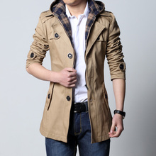 2016Autumn and winter trench male casual men's clothing medium-long slim male trench with a hood top plus size(China (Mainland))