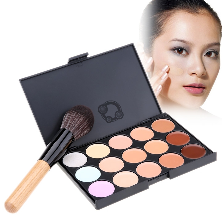 New Fashion Women's Makeup Cosmetics Tools Set 15 Colors Creamy Concealer Kit and 1 Brush # H(China (Mainland))