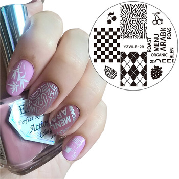 YZWLE 2017 New Nail Beauty Stamping Plates Lattice Letters Designs Image Konad Nail Art Stamps Plates Nails Template Tool
