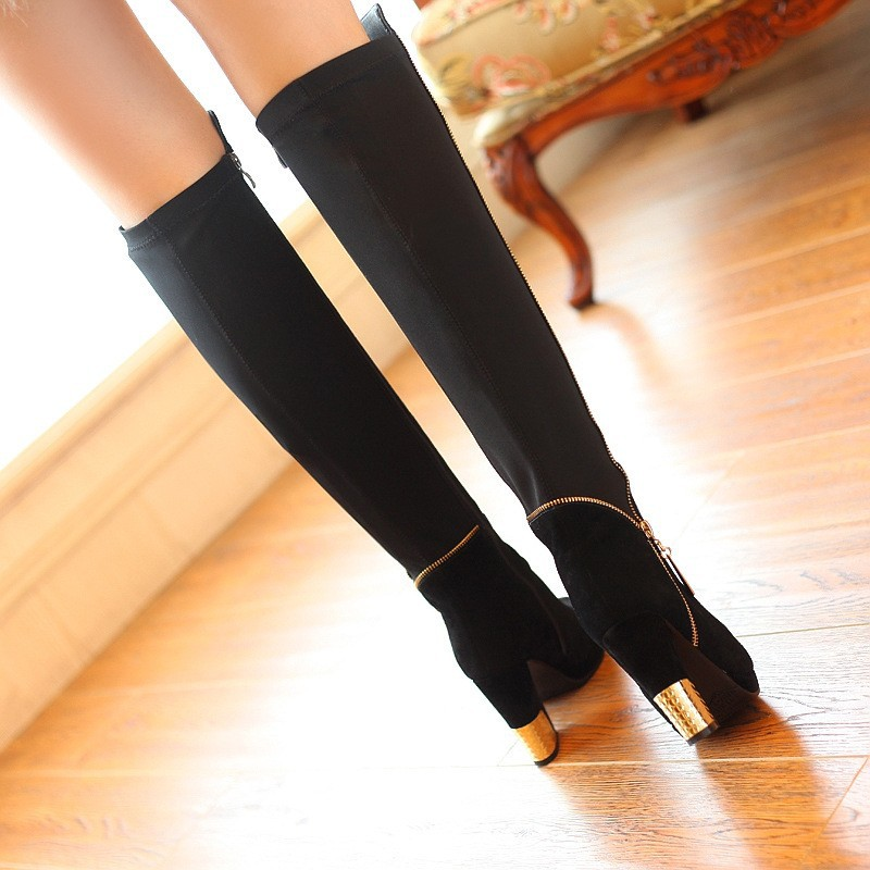 Fashion British Style Women Genuine Leather Boots Black Long Over The Knee Booties Female Ladies Riding Boots Shoes Femme AL419