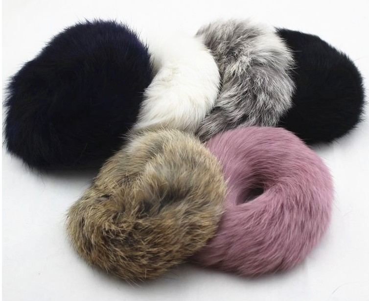 2015 Fall Winter Real rabbit fur pompon hair band/hair holder/hair scrunchies/ for woman hair accessories Wholesale(China (Mainland))