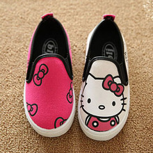 2015 Newest Cute Cartoon Children Shoes Hello Kitty Mickey Design Kids Sneakers Bowknot Pink Rose Black Girls Boys Canvas Shoes(China (Mainland))