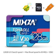 MIXZA זיכרון כרטיס 256 gb 128 gb 64 gb U3 80 mb/s 32 gb מיקרו sd כרטיס Class10 UHS-1 פלאש כרטיס זיכרון Microsd TF/SD כרטיסי עבור Tablet(China)