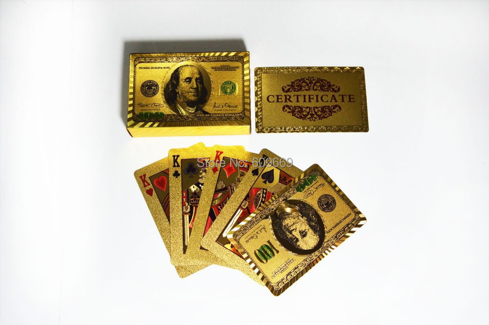 24K Colored USA Gold Playing Card In Papar Box For Business Gift(China (Mainland))
