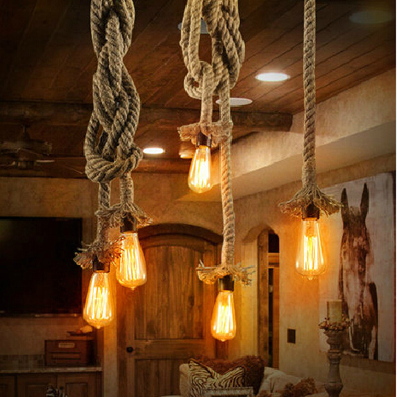 Vintage Rope Pendant Lights Loft DIY Handmake Rope