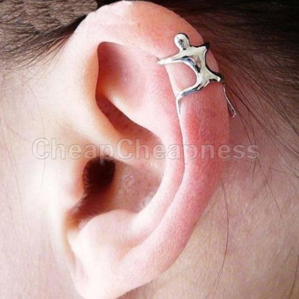 One PCS Silver Earrings Climbing Man Naked Climber Ear Cuff Helix Cartilage Earring(China (Mainland))