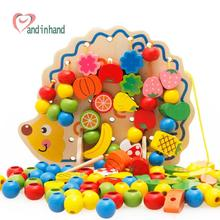 Early Learning Wooden Toys Hedgehog Fruit Beads Child Hand Eye Coordination Skills Development Educational Toys For Kids(China (Mainland))