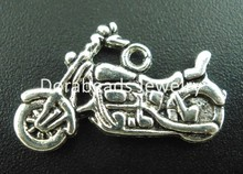 hot-  30PCs Antique Silver Motorcycle Charms Pendants 24x14mm (B03298)(China (Mainland))