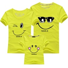 2016 Promotion New Summer Smile Mother & Father Children T-shirt Short-sleeved Family Matching Outfits Parents-child Clothing