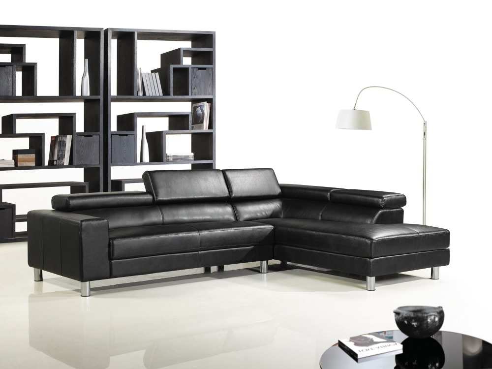 Cow genuine leather sofa set living room sofa sectional corner sofa couch sofas black top graded Living rooms with leather sofas