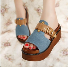 39-35 2016 New Summer Sandals Plus Size Fashion Cowboy Sandals Women Denim Platform Sandal Casual Ladies High Heel Slippers Girl
