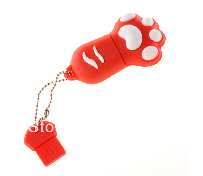 U111 Free shipping New Hot cartoon Cute Red cat paw 1GB 4GB 8GB 16GB 32GB 2.0 usb flash drive pen drive memory card car key(China (Mainland))