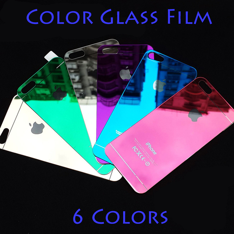 Free Shipping 9H Tempered Glass Color Film LCD Screen Safeguard Protector Front and Back Protective Cover For iPhone 5 5s(China (Mainland))