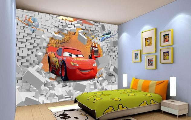 Free shipping eco friendy 3d huge mural cartoon car papel