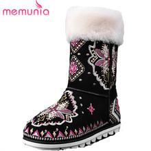MEMUNIA Bordar diseño flock nieve botas mujer zapatos de invierno a mediados de la pantorrilla botas planas con tamaño 34-40 características Chinas(China (Mainland))
