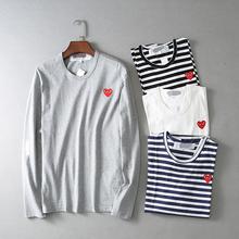 2015 New fall men/women's comme des garcons play CDG striped t shirt long sleeve casual tops sweat shirt tees shirts(China (Mainland))
