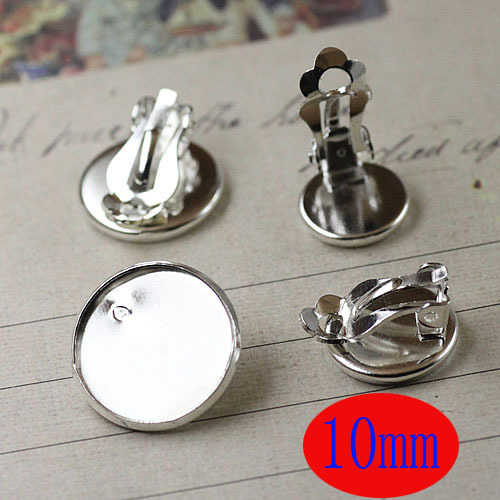 Free shipping!!! 100pcs 10mm Silver plated Flat Pad Clip On Earring Findings/Round Cabochon Settings Earring Clips(China (Mainland))